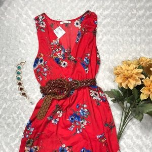 Soprano Candy Red Floral High Low Maxi Dress